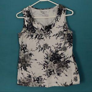 Black & White Floral Sleeveless Shirt, size S